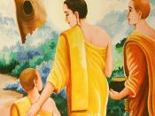 Buddha gives a teaching to his son and novice-monk Rahula during pindabat (walking almsround in the village or city), on the value of truthfulness and abstaining from speaking untruths.