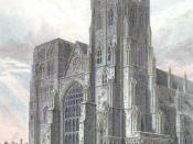 The Norman north west tower prior to demolition (coloured from an engraving, 1821).