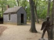 English: Replica of Thoreau's cabin near Walden Pond