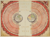 The Ptolemaic geocentric model of the Universe according to the Portuguese cosmographer and cartographer Bartolomeu Velho (Bibliothèque Nationale de France, Paris).