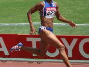 World Athletics Championships 2007 in Osaka - French 100 Meter runner Christine Arron during her first round heat