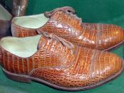 Shoes made from real crocodile skin, in a conservation exhibit at Bristol Zoo, England
