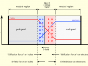 English: A p-n junction in thermal equilibrium with zero bias voltage applied. Electron and holes concentration are reported respectively with blue and red lines. Gray regions are charge neutral. Light red zone is positively charged. Light blue zone is ne