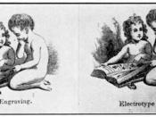English: April, 1841 illustration by Joseph Alexander Adams from the US magazine American Repertory. The illustration compares printing using a wood carving and using a copper electrotype made from the same carving. It is among the earliest images printed