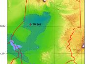 location of TM 266, place of discovery of the first Sahelanthropus tchadensis in Chad ; based on http://www.nature.com/nature/journal/v418/n6894/fig_tab/nature00880_F1.html and using Chad Topography.png (PD) by Sadalmelik as background. The light blue are