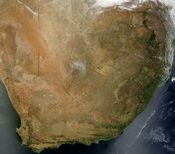 Composite satellite image of South Africa in November 2002.