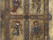 English: Image of Folio 27v, with the four evangelist symbols from the Book of Kells, a 1200 year old book. Scanned from: Meehan, Bernard; The Book of Kells': an illustrated introduction to the manuscript in Trinity College Dublin. London: Thames and Huds