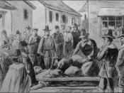 Digitally restored version of Commons file File:Giles Corey.jpg: Old drawing of the death of Giles Corey (Sept. 19, 1692) by being pressed with heavy stones for failing to enter a plea to the charge of being a witch during the Salem Witch Trials.