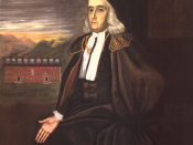 Portrait of William Stoughton, colonial magistrate of the Salem Witch Trials and acting governor of Massachusetts.