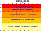 English: Exercise work zones (Fox and Haskell formula between 20 and 70-year-old): red zone (VO2Max), anaerobic, aerobic, weight control and warming up. Français : Zones d'exercice de travail (selon la formule de Fox et Haskell entre 20 ans et 70 ans) : z