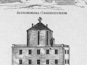 The house of Anders Celsius with his observatory on the roof, from a contemporary engraving.
