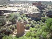 English: Square Tower ruins, anasazi building in the Hovenweep National Monument area - USA.