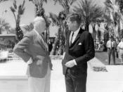 English: Former president Eisenhower with President Kennedy on retreat in 1962