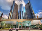 English: GM Renaissance Center from below