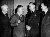 David Dubinsky, guest of honor, speaking with others at the League for Industrial Democracy luncheon, 1949. From left to right are: Dr. Harry W. Laidler, David Dubinsky, Gordon R. Clapp, and Thomas C. Douglas.