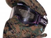 Paintball mask fitted with a MARPAT cover