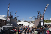 English: The Vert ramp at the 2010 Boardmasters Festival during the first skateboard free practice session.