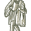 English: Cut out of figure of Everyman from the frontispiece to the first edition of the play, from the 16th century.