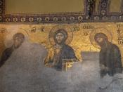 English: The Deesis mosaic in the Hagia Sophia, Istanbul.