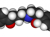 Space-filling representation of a haloperidol molecule. Haloperidol is an antipsychotic medication sometimes used to treat severe cases of Tourette's.