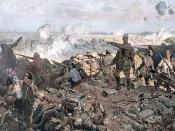 English: Second Battle of Ypres, 22 April to May 1915 by Richard Jack (1866 - 1952). Photo mechanical print: 146 x 234 1/2 in, painting, oil on canvas: 371.5 x 589.0 cm. The first commission completed for the Canadian Was Memorials Fund (CWMF), The Second