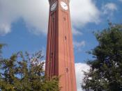 The tallest Campanile, Joseph Chamberlain Memorial Clock Tower in the University of Birmingham, England