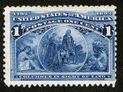 English: ~ Columbus in Sight of Land ~ Issue of 1893. ~ Columbus in Sight of Land ~. The 1¢ Columbian. ~ Columbus in Sight of Land ~ From a painting by William H. Powell.