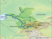 English: Map of the watershed of the Syr Darya in Central Asia, that drains to the Aral Sea.