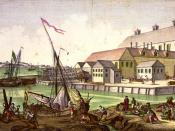 Shipping scene in Salem, Massachusetts, a shipping hub, in the 1770s