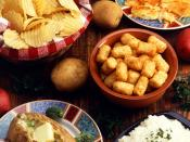various potato dishes: potato chips, hashbrowns, tater tots, baked potato, and mashed potatoes