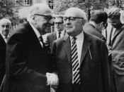 English: Photograph taken in April 1964 by Jeremy J. Shapiro at the Max Weber-Soziologentag. Horkheimer is front left, Adorno front right, and Habermas is in the background, right, running his hand through his hair.