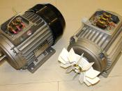 English: 3-phase electric induction motors (delta connection): 0.75 kW, 1420 rpm, 50 Hz, 230-400 V, 2.0-2.4 A