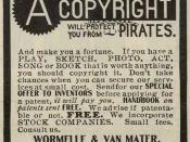 English: Copyright advertisement from the New York Clipper, 1906.