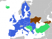 Future EU enlargement in Eastern Europe. Blue: EU. Green: current enlargement agenda (applicants, candidates, potential candidates as per EU DG for Enlargement). Brown: EU aspiration noted in ENP Action plan. Yellow: the rest of Eastern Europe.