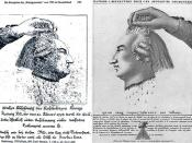Louis XVI's Head:  The german, counter-revolutionary persiflage from A.D. MDCCXCIII set against the french original revolutionary agitation-image from the YEAR Ⅰ