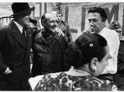 Vittorio De Sica, Roberto Rossellini e Federico Fellini sul set de Il Generale