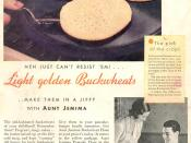 1932 advertisement for Aunt Jemima Pancake Mix from Quaker Oats Company. Out of the magazine Good Housekeeping.