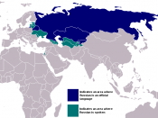A map of countries where Russian is widely spoken.