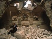 A cello player in the partially destroyed National Library, Sarajevo, during the war in 1992.