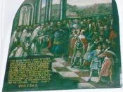 Jan III Sobieski, king of Poland, in Jasna Góra Monastery before his departure with soldiers for helping Vienna (in 1683), picture from Knightly Hall of Jasna Góra Monastery