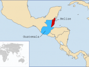 Map of Central America displaying Belize (red) and Guatemala (blue)