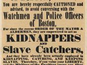 An April 24, 1851 poster warning colored people in Boston about policemen acting as slave catchers.