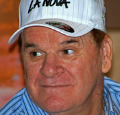 English: I turned a corner in the shop forum of Caesar's Palace in Las Vegas to find Pete Rose signing autographs in a sports store. I took this from outside the store with my zoom lens. *My first celebrity photo* I was really excited since I grew up watc