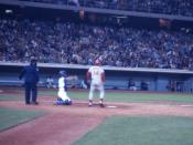 Pete Rose at bat in a game at Dodger Stadium during the 1970s