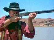 English: This image is a screenshot from a public domain trailer for the 1956 film, The Searchers. Trailers for movies released before 1964 are in the Public Domain because they were never separately copyrighted.