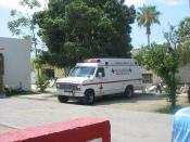 An ambulance owned by the Mexican Red Cross