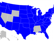 Map showing US lottery jurisdictions (in blue)