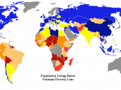 World map showing percent of population living below their national poverty line. Grey means no information.