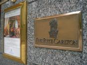 The Ritz Carlton logo at the former Hong Kong property in Central.