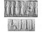 Enki as portrayed in various cylinder seals, British Museum